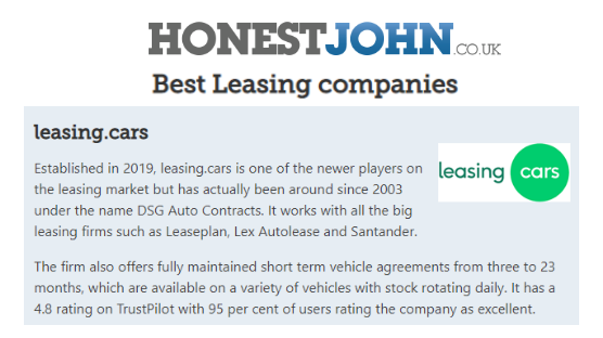 leasing.cars is recognised as a Best Car Leasing Company by Honest John